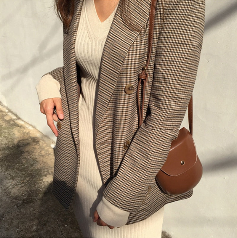 creationsg - Vintage Double Breasted Plaid Blazer Long Sleeve Loose Houndstooth Office blazers