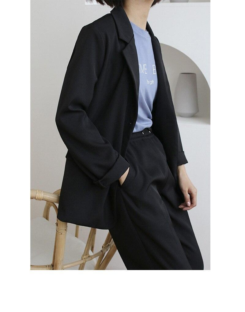 creationsg - 2019 Spring New Style Solid Color Short Simple Leisure Thin Coat Long Sleeve women blazer