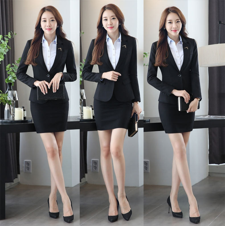 creationsg - Slim Fashion Uniform Design Work Wear Suits With Jackets And Skirt