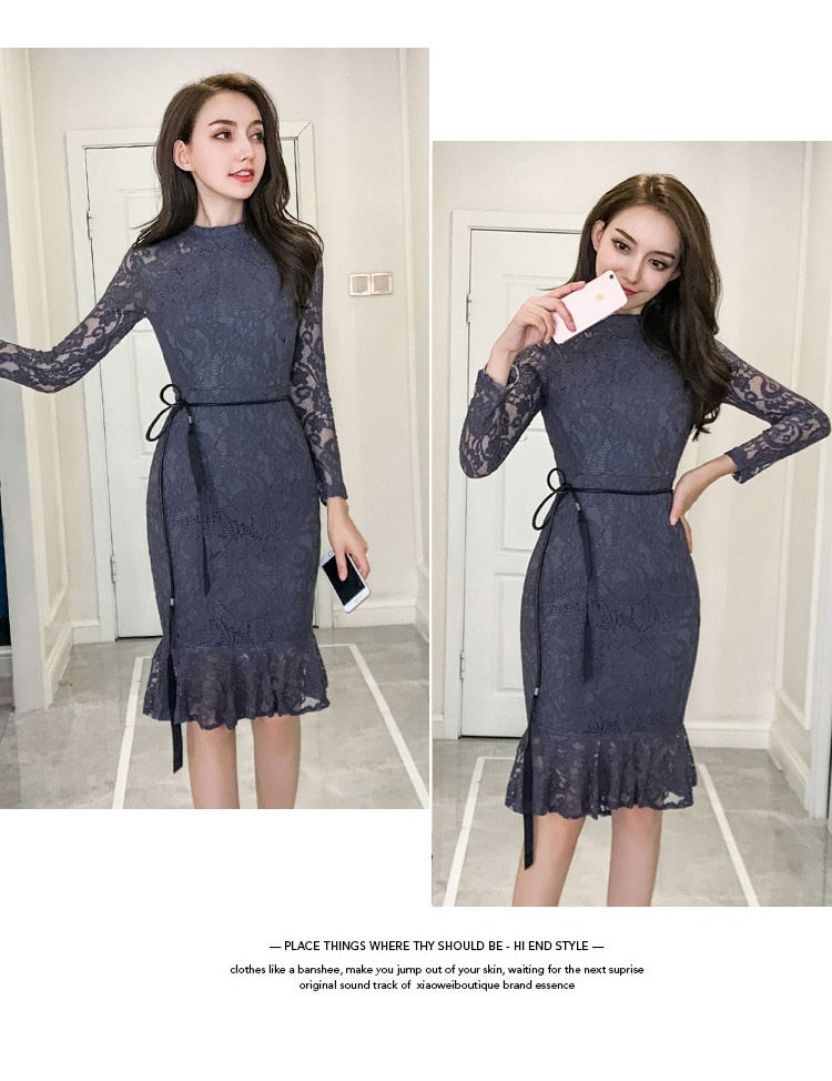 Autumn Women Dress Lace Long Sleeve O-Neck Bandage Bodycon Dress Creationsg