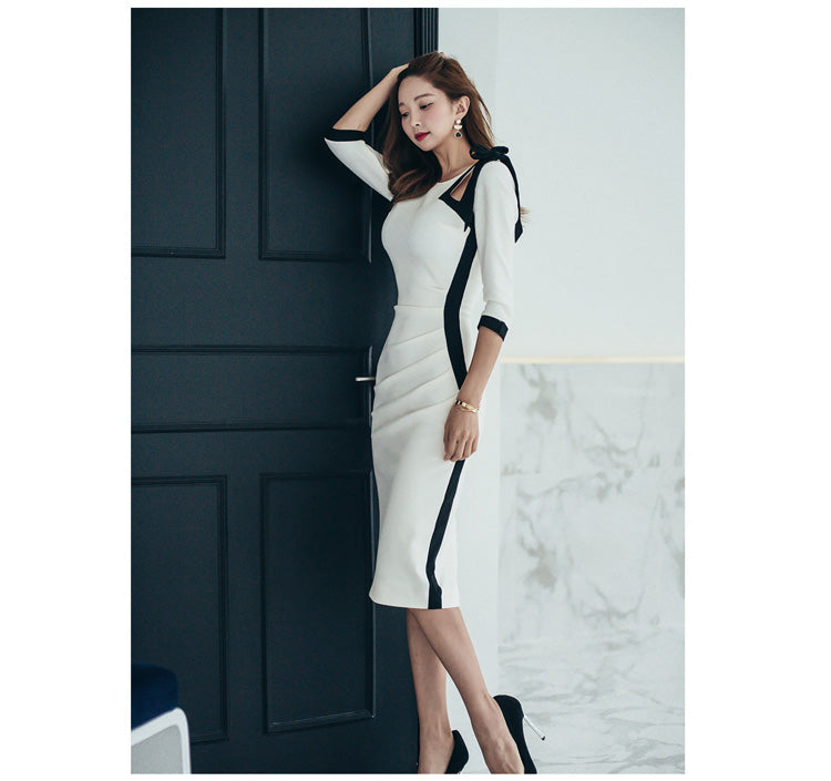 creationsg - H Han Queen Sexy Contrast Color Hollow Out Bow Cut Out Backless Pencil Dress