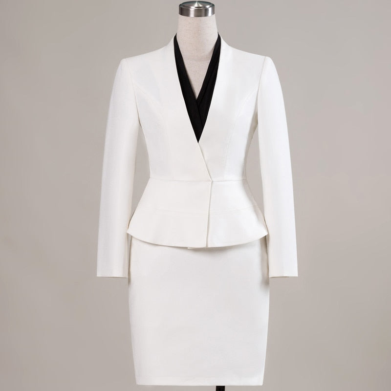 New elegant skirt suits set women Business slim long sleeve blazer with skirt workwear Creationsg