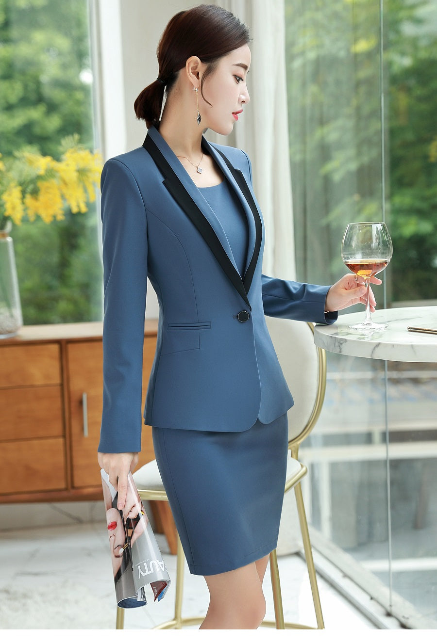 Dress suit Long sleeve Slim Stitching jacket Long dress Creationsg