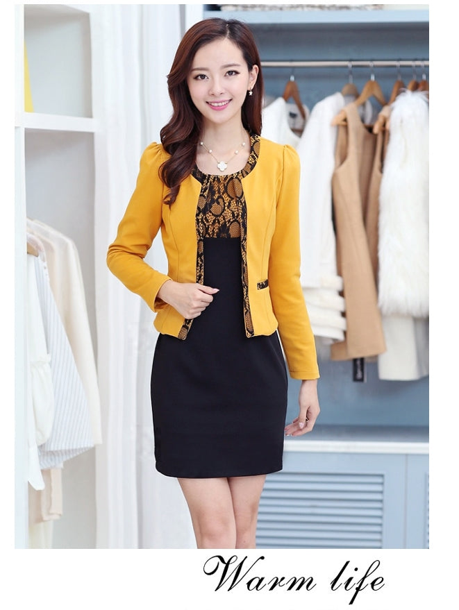 creationsg - New Two-piece Dress Long Section  Large Yard Women Slim Thin Long-sleeved Dress Bottoming