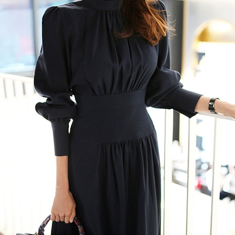 Elegant Stand Collar women Office Ladies dress Creationsg