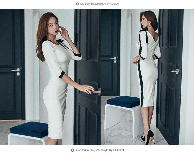 Sexy Contrast Color Hollow Out Bow Cut Out Backless Pencil Dress Creationsg