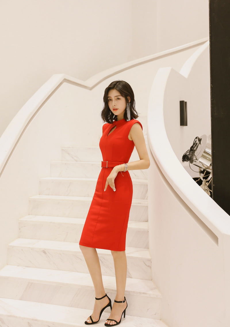 Solid New Women Office Pencil Dress Summer Sleeveless O-Neck Elegant Lady Bodycon Dress Creationsg