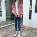 Corduroy Shirt Coat Women Fashion Long Sleeve Preppy Wide Waist Turn Down Collar Crop Jacket Creationsg