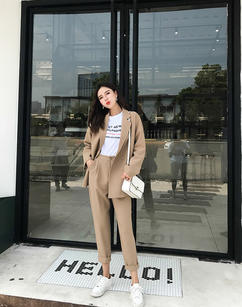 Casual Solid Pant Suits Notched Collar Blazer Jacket & Pencil Pant Khaki Female Suit Creationsg