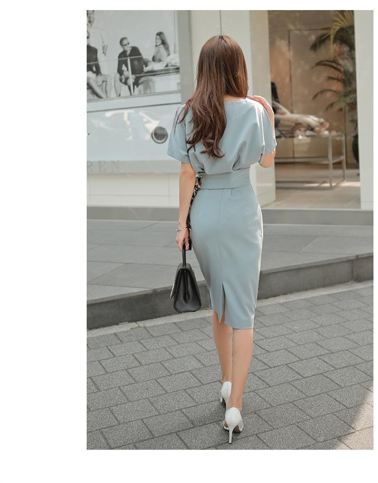 creationsg - YaLiShi 2 Piece Sets 2017 Summer Office Bule V-neck Batwing Sleeve Dress