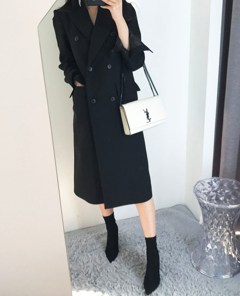 creationsg - Spring and Autumn new Korean ladies fashion thin long-sleeved double-breasted suit