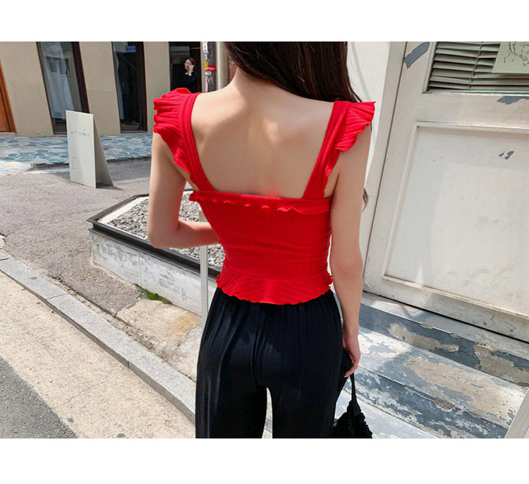 creationsg - Summer Two Piece Cloth Knitted Strap Top Casual Black Loose Long Pant Women's Sets