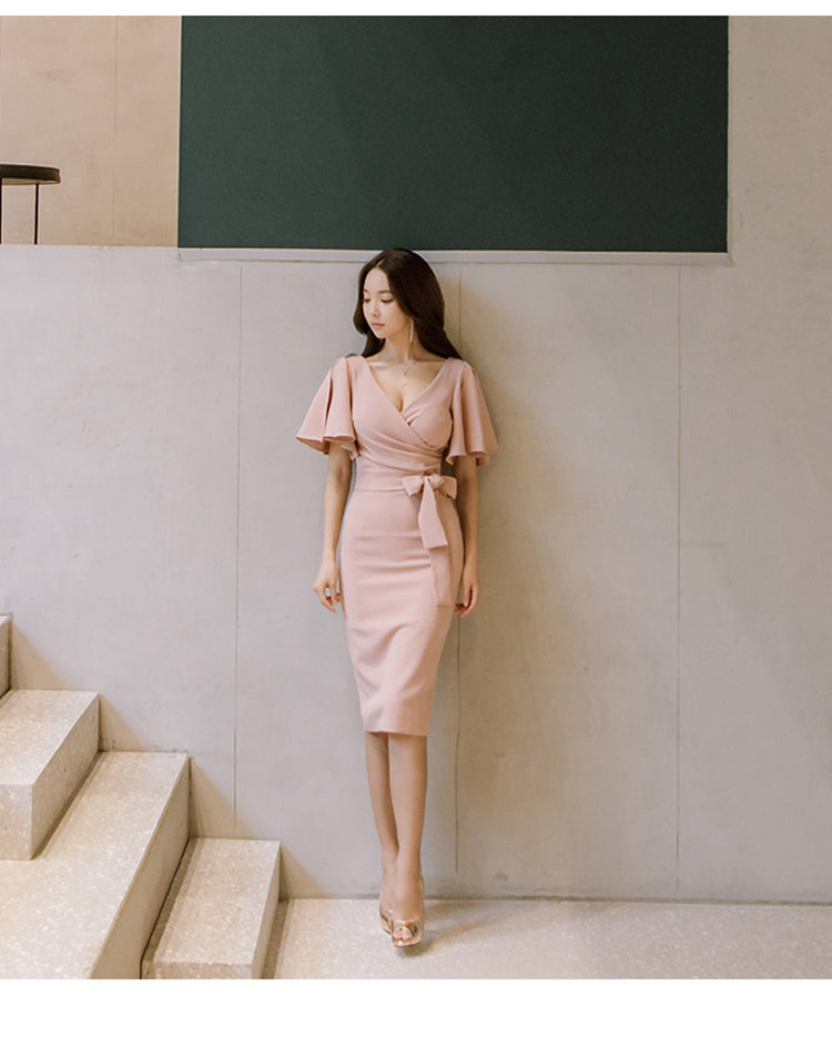 creationsg - H Han Queen Summer Women Bow Sexy Pink Bodycon