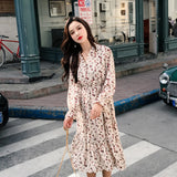 Vintage V-neck Floral Print Chiffon Dress Women Spring High Elastic Waist A-line Creationsg