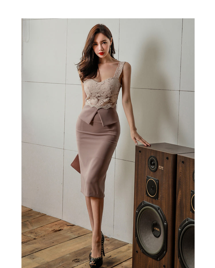 Queen Halter Strapless Summer OL Lace Pencil Dress Creationsg