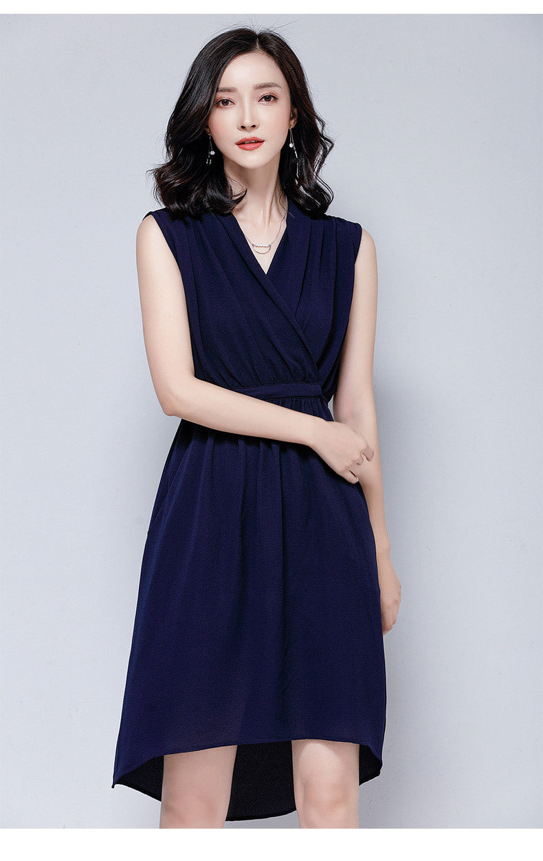 V-Neck Tie Dress 2019 New Summer Sleeveless Korean Style Chiffon Dress Creationsg