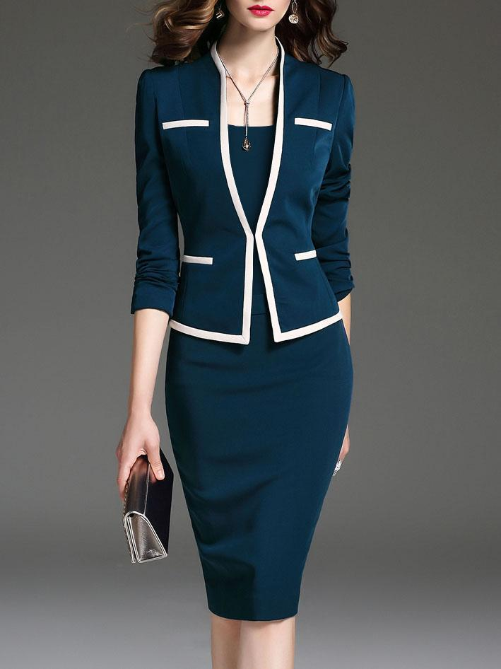 Office Wear Outfit Jacket and Dress Spring Autumn Dresses Suits Creationsg