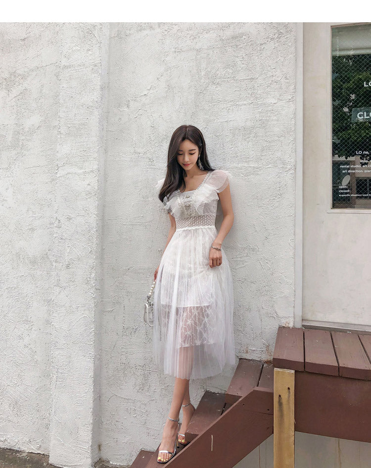 creationsg - Women Summer Lace Patchwork Solid Mid-Calf Pleated Princess Dress