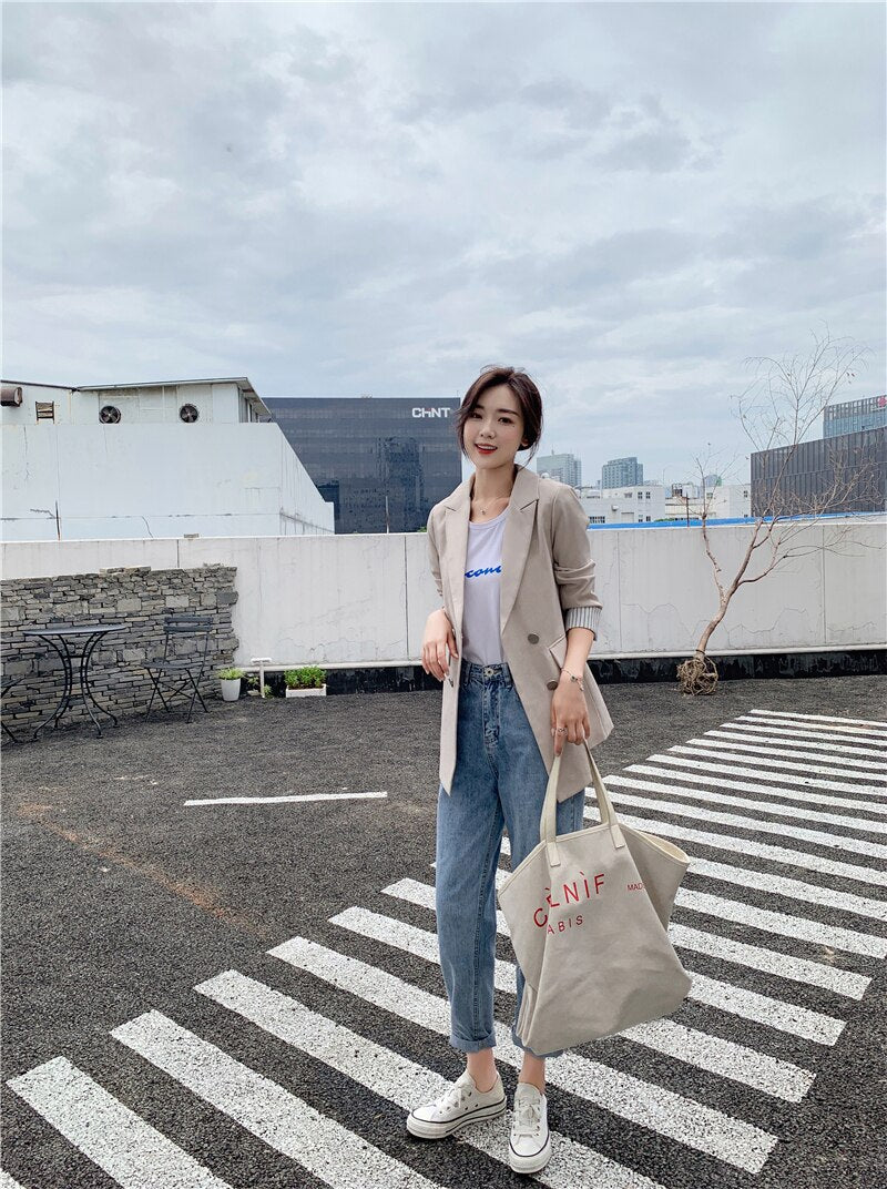 Double Blazer Jackets Notched Collar Outerwear Elegant Ladies Coat 2019 Creationsg