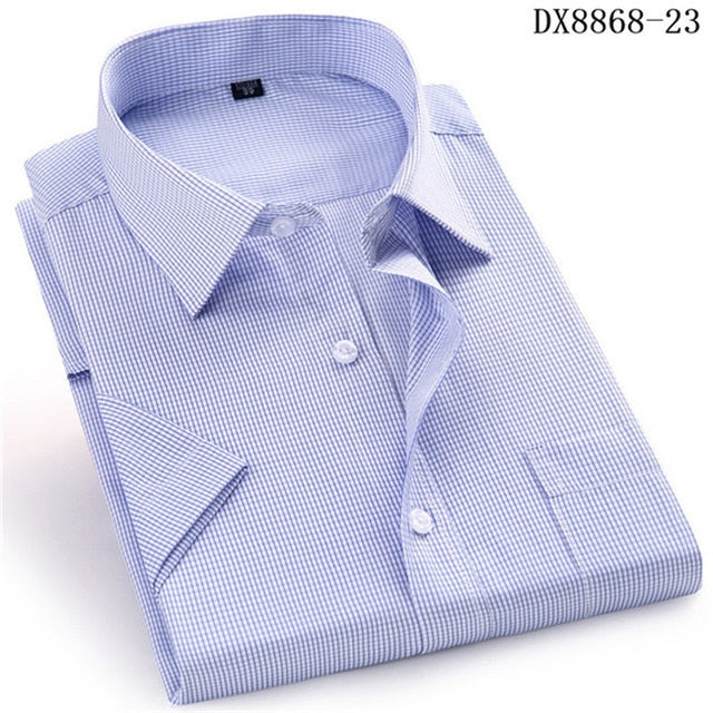 Short Sleeve Men's Dress Casual Plaid Shirt Creationsg