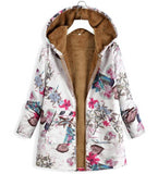 Hoodies Print Parka Mujer Winter Coats Tops Pockets Cotton Jacket Creationsg