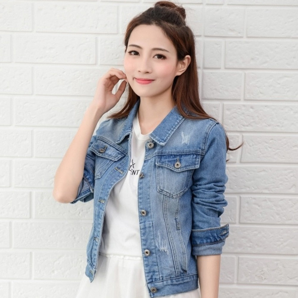 Denim Jackets Slim Jeans Coat Casual Long Sleeve Spring Top Short Female Coats Creationsg