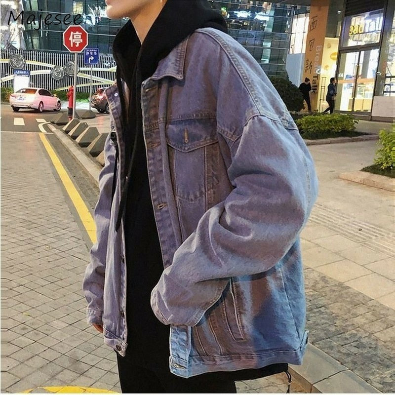 Jacket Men Denim Vintage Blue Loose Coat Creationsg