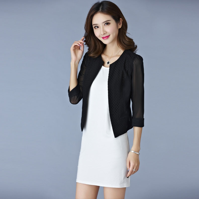 creationsg - Jaqueta Feminina 2019 Summer Women Gauze Mesh Cardigan Short Jackets