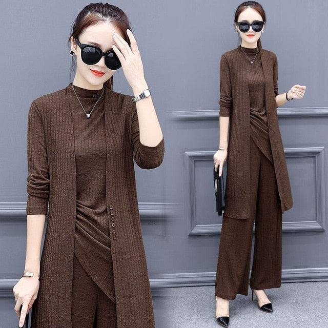 creationsg - Knitted 3 Pieces Set Women Tracksuit Long Sleeve Cardigan and Sleeveless Pullover Tops