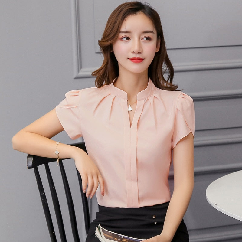 Womens Tops and Blouses Chiffon Women Blouses Short Sleeve White Shirts Tops Creationsg