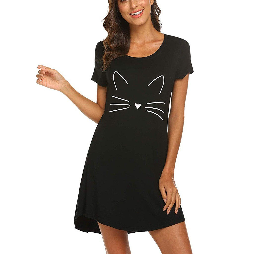 Ladies Casual Short-Sleeved Cartoon Cat Print Comfortable Straight Dress Creationsg
