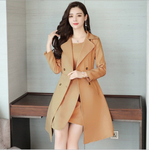 Ladies Knee Length Dress Suits Office Wear Long Trench Coat & Dress 2 Two Piece Set Clothing Formal Dresses Suit Creationsg