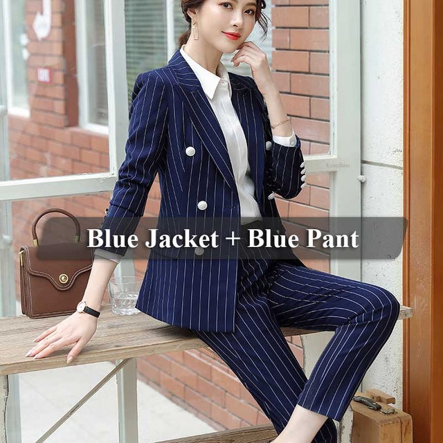 creationsg - High Quality 2 Piece Set Striped Formal Pant Suit Soft and Comfortable Blazer