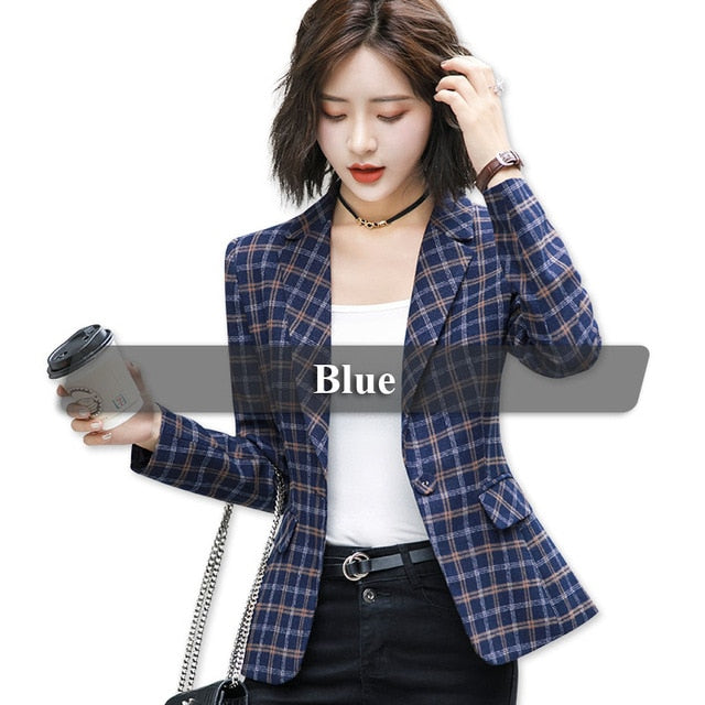 creationsg - High-quality Plaid Jacket with Pocket Office Lady Casual Style Blazer