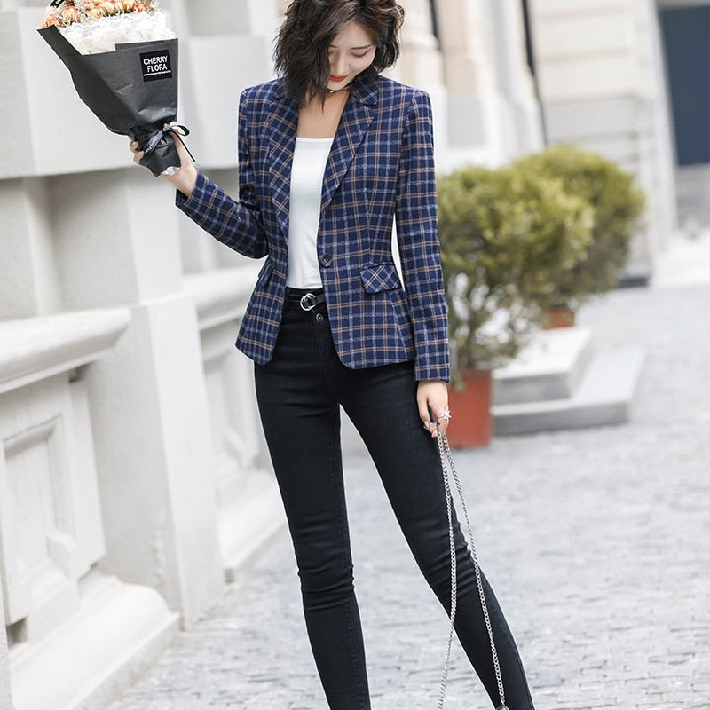 High-quality Plaid Jacket with Pocket Office Lady Casual Style Blazer Creationsg