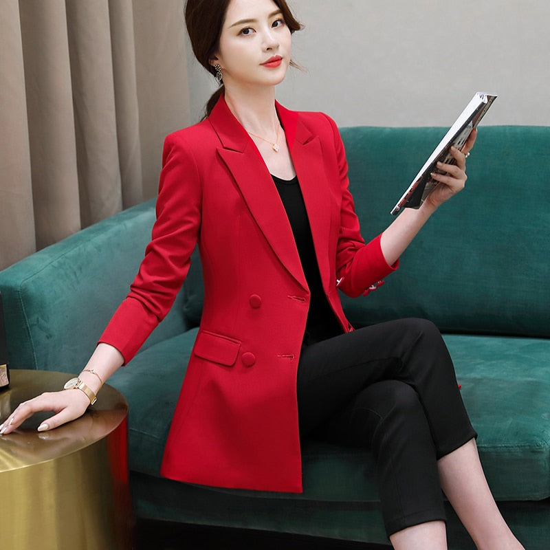 Double Breasted Jacket with Long sleeve Blazer Fashion Work Wear Creationsg