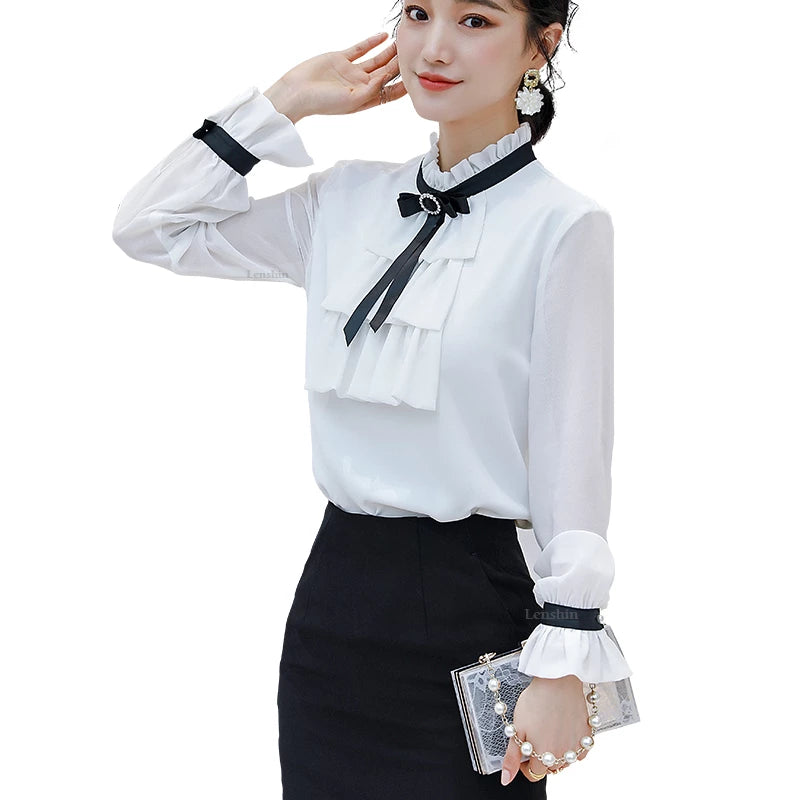 creationsg - Women Ruffles Shirts with Tie High-quality Blouse Work Wear