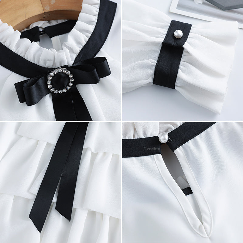 Women Ruffles Shirts with Tie High-quality Blouse Work Wear Creationsg