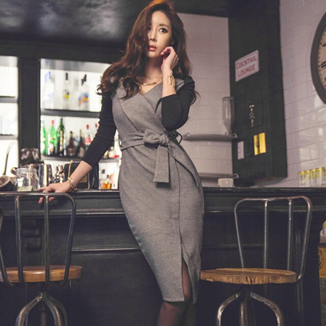 Long Sleeve Sexy Office Dresses Women 2019 Patchwork V-Neck Bandage Bodycon Dress Creationsg