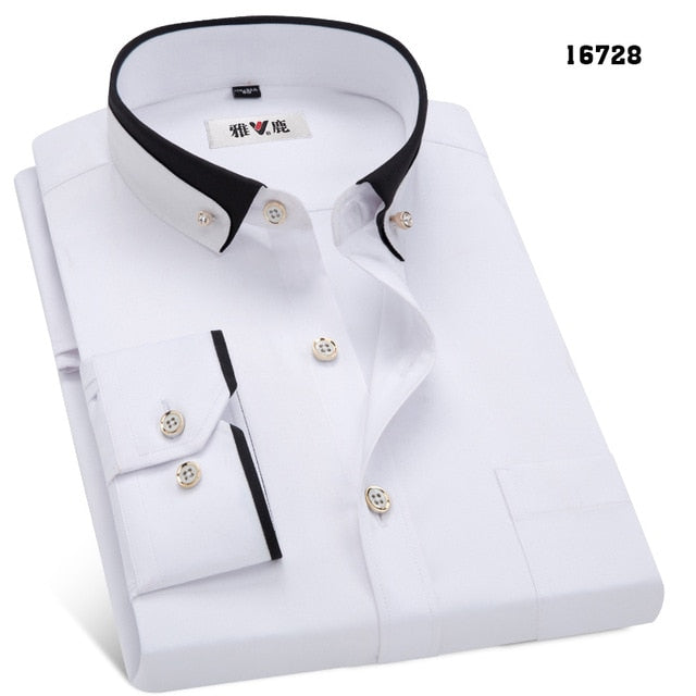 Spring&Autumn Men's Business Dress Shirts Male Formal Dress Shirt