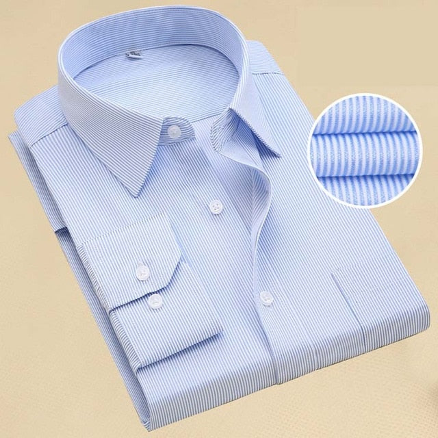 Men Long Sleeve Shirt Spring Solid Color Business Office Formal Dress Shirt Creationsg