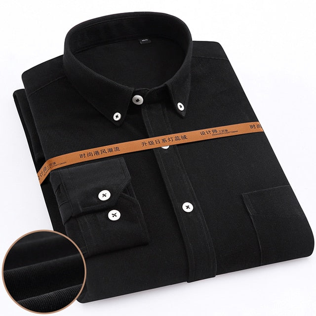 Long Sleeve Vintage Corduroy Shirt Single Patch Pocket Outerwear Casual Shirts Creationsg