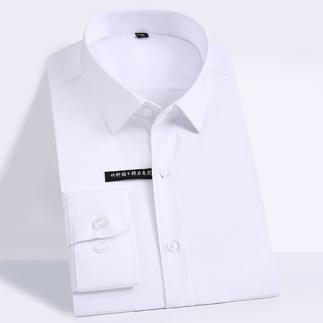 Soft & Smooth Bamboo-fiber Dress Shirts Pocket-less Design Long Sleeve Shirt Creationsg