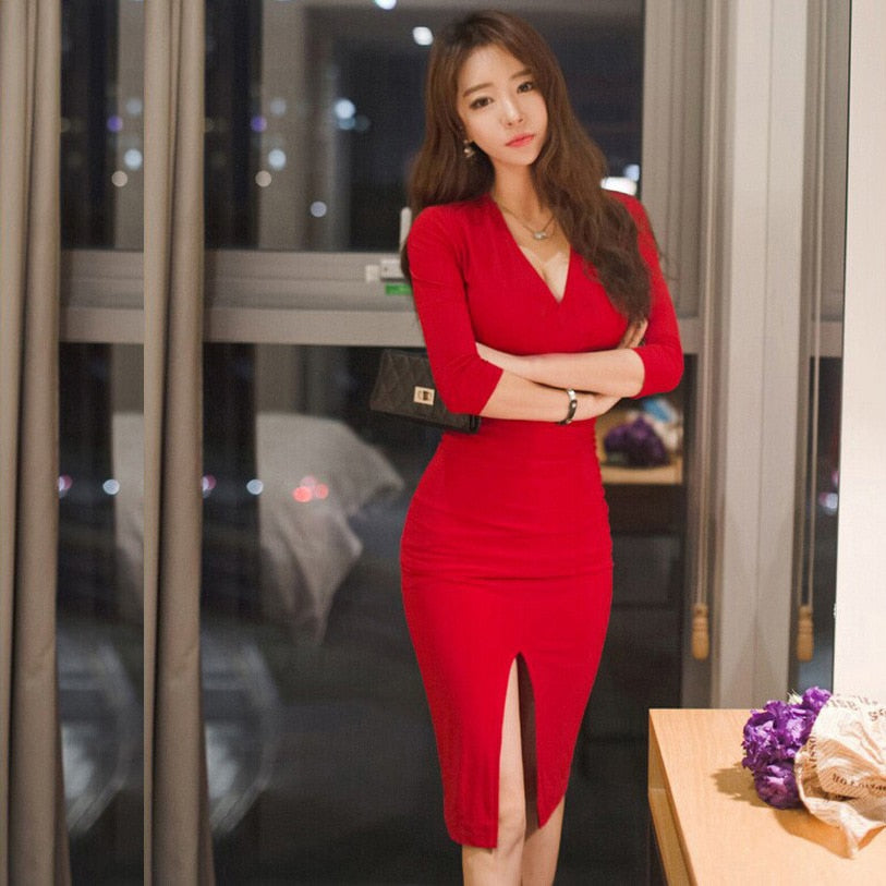Midi Women Dress Bandage Office Party Sexy Bodycon Black Red Vintage Dress Creationsg