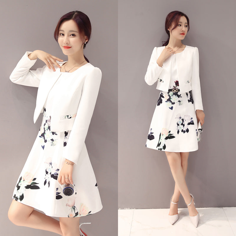New fashion florall print office ladies dress and white jacket suits - Creationsg