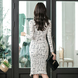 Elegant Print Stylish Casual Office Lady Work Business Formal Pencil Dress Creationsg