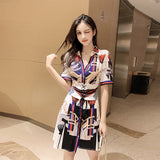 New Print Ladies Dress Sexy Nightclub Short Dress Chain Shirt Dress Creationsg