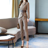 New Spring Autumn Fashion Work Women's Business Pants Suits Creationsg