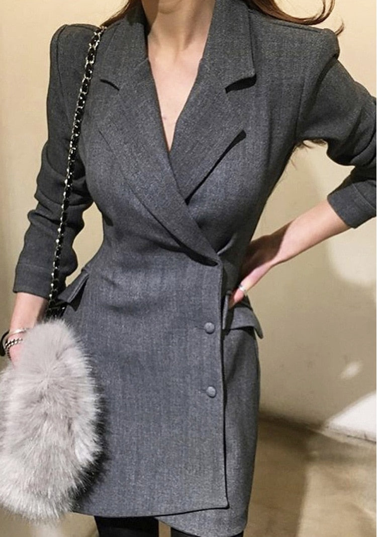 Office Blazer Dress Black Formal Wear Elegant Suit Ladies Dresses Creationsg