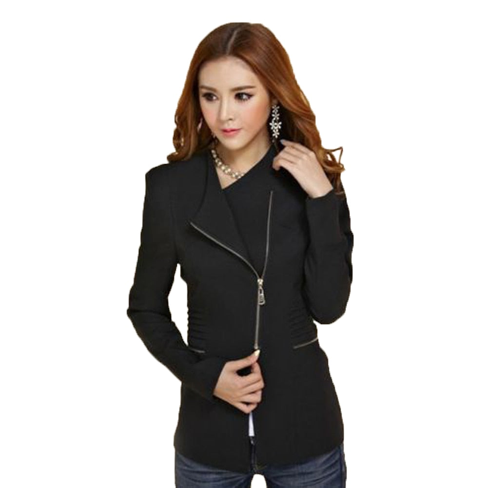 Office Lady Suit Zipper Blazer Women Long Sleeve Slim Fit Jacket Creationsg